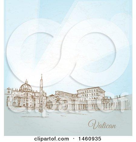 Clipart of a Sketch of Vatican City - Royalty Free Vector Illustration by Domenico Condello