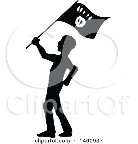 Clipart of a Silhouetted Terrorist - Royalty Free Vector Illustration by Domenico Condello