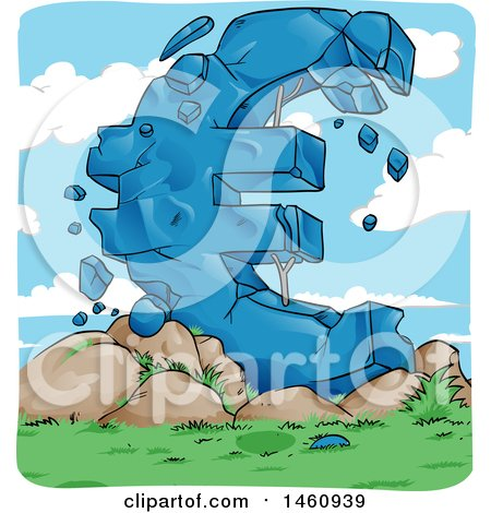 Clipart of a Crumbling Giant Euro Currency Symbol, European Crisis - Royalty Free Vector Illustration by Domenico Condello