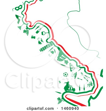 Clipart of a Map of Italy with Icons - Royalty Free Vector Illustration by Domenico Condello