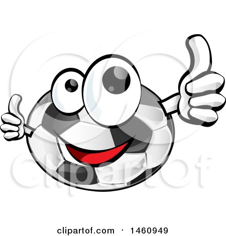 Clipart of a Soccer Ball Mascot Giving Thumbs up - Royalty Free Vector Illustration by Domenico Condello