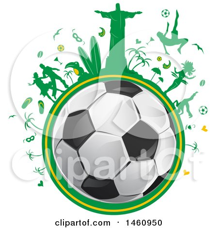 Clipart of a Soccer Ball and Brazilian Icon Globe - Royalty Free Vector Illustration by Domenico Condello