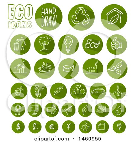 Clipart of Round Green Eco Icons - Royalty Free Vector Illustration by Domenico Condello