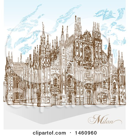 Clipart of a Sketched Milan Cathedral - Royalty Free Vector Illustration by Domenico Condello