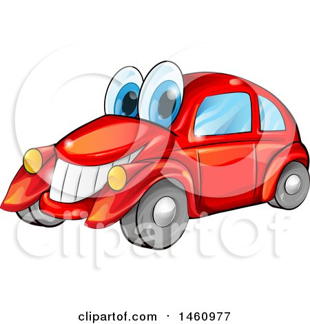 Clipart of a Happy Red Car Mascot - Royalty Free Vector Illustration by Domenico Condello