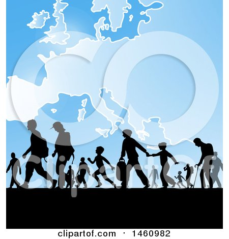 Clipart of Silhouetted Immigrants over a European Map - Royalty Free Vector Illustration by Domenico Condello