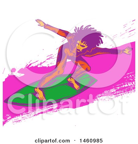 Clipart of a Pop Art Styled Surfer - Royalty Free Vector Illustration by Domenico Condello