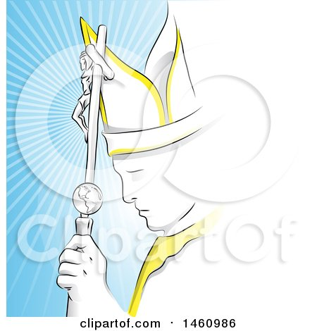 Clipart of the Pope Against Rays - Royalty Free Vector Illustration by Domenico Condello