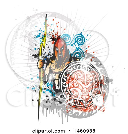 Clipart of a Zeus and Grunge Design - Royalty Free Vector Illustration by Domenico Condello