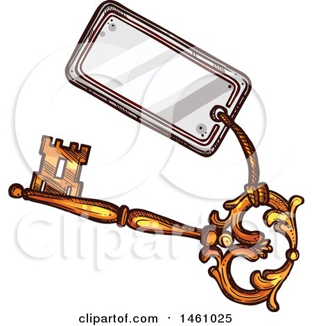 Clipart of a Sketched Vintage Skeleton Key with a Tag - Royalty Free Vector Illustration by Vector Tradition SM