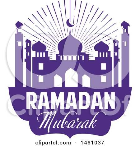 Clipart of a Purple Ramadan Kareem Design with a Mosque and Text - Royalty Free Vector Illustration by Vector Tradition SM