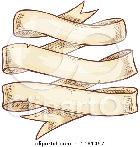 Clipart of a Vintage Styled Sketched Banner Ribbon - Royalty Free Vector Illustration by Vector Tradition SM