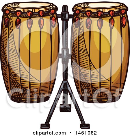 Clipart of a Sketched Conga Drum Set - Royalty Free Vector Illustration by Vector Tradition SM