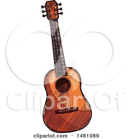 Clipart of a Sketched Guitar - Royalty Free Vector Illustration by Vector Tradition SM