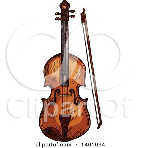 Clipart of a Sketched Violin - Royalty Free Vector Illustration by Vector Tradition SM