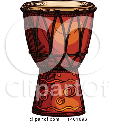 Clipart of a Sketched Conga Drum - Royalty Free Vector Illustration by Vector Tradition SM
