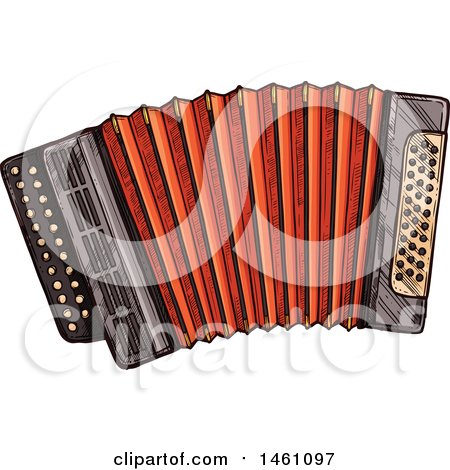 Clipart of a Sketched Accordion - Royalty Free Vector Illustration by Vector Tradition SM