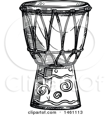 Clipart Of A Sketched Conga Drum