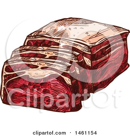 Clipart of a Sketched Pork Ham Tenderloin - Royalty Free Vector Illustration by Vector Tradition SM