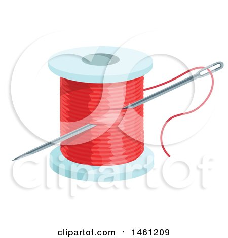 Clipart of a Sewing Needle and Spool of Red Thread - Royalty Free Vector Illustration by Vector Tradition SM