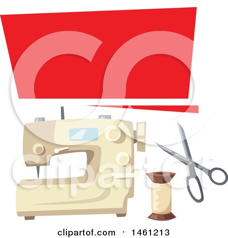 Clipart of a Sewing Design with a Banner and Sewing Machine - Royalty Free Vector Illustration by Vector Tradition SM