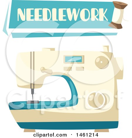 Clipart of a Sewing Design with a Needlework Banner and Sewing Machine - Royalty Free Vector Illustration by Vector Tradition SM