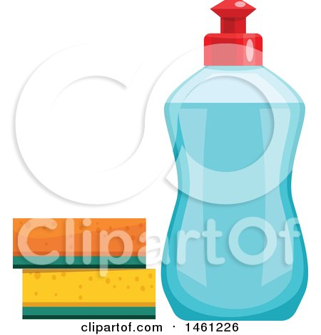 Clipart of a Bottle of Dish Soap and Sponges - Royalty Free Vector Illustration by Vector Tradition SM