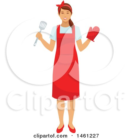 Clipart of a Happy Housewife Cooking - Royalty Free Vector Illustration by Vector Tradition SM