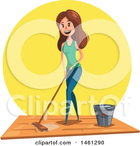 Clipart of a Cleaning Design with Text Space and a Woman Mopping - Royalty Free Vector Illustration by Vector Tradition SM