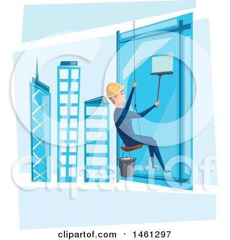 Clipart of a Skyscraper Window Cleaner - Royalty Free Vector Illustration by Vector Tradition SM