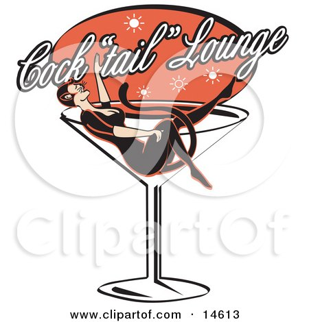 Woman In A Cat Costume Lying In A Giant Martini Glass At A Cocktail Lounge  Posters, Art Prints