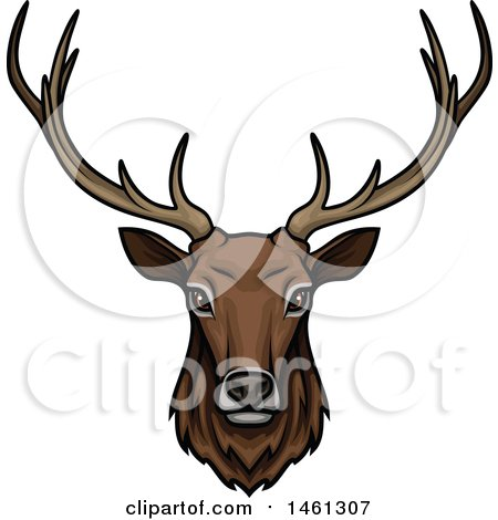 Clipart of an Elk Face - Royalty Free Vector Illustration by Vector Tradition SM