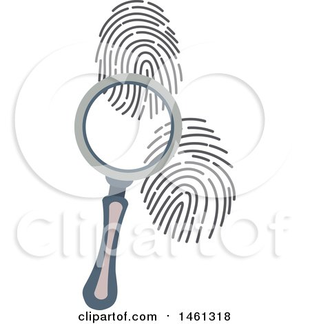 Clipart of a Magnifying Glass and Fingerprints - Royalty Free Vector Illustration by Vector Tradition SM