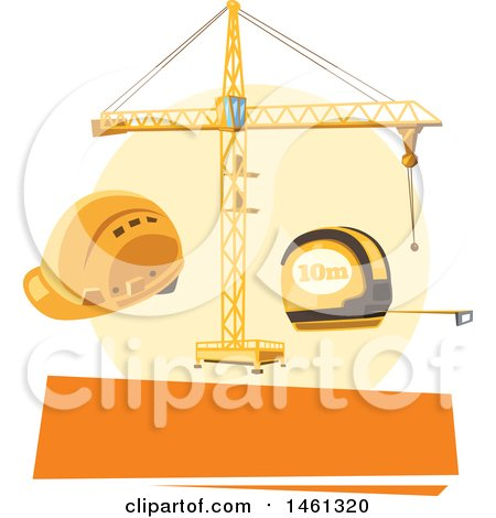Clipart of a Construction Design with a Blank Banner - Royalty Free Vector Illustration by Vector Tradition SM