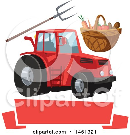 Clipart Of A Silhouetted Tractor With Visible Mechanical