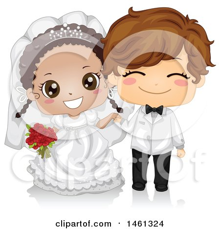 Clipart of a Happy Cute Black Bride and White Groom Kid Wedding Couple - Royalty Free Vector Illustration by BNP Design Studio