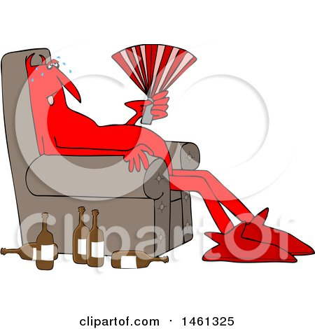 Clipart of a Cartoon Hot Chubby Red Devil Sitting in a Chair with a Fan and Bottles on the Floor - Royalty Free Vector Illustration by djart