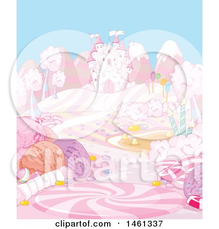 Clipart of a Pink Castle in a Candy Landscape - Royalty Free Vector Illustration by Pushkin
