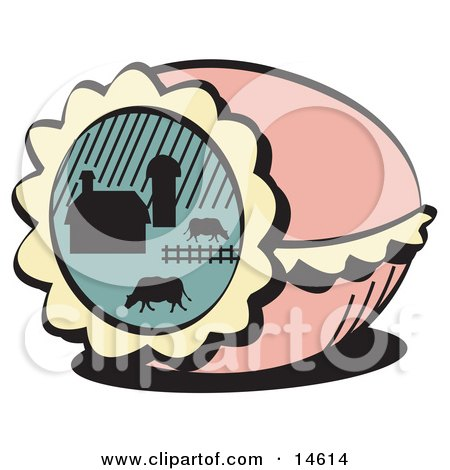 Pink Decorated Easter Egg With A Farm Scene Of Cows Grazing In A Pasture Near A Barn Clipart Illustration by Andy Nortnik