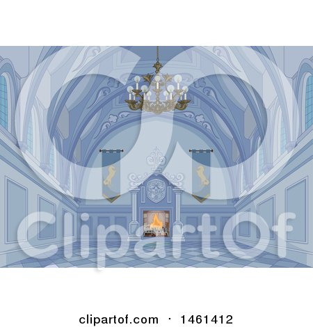 Clipart of a Blue Medieval Palace Interior with a Fire - Royalty Free Vector Illustration by Pushkin