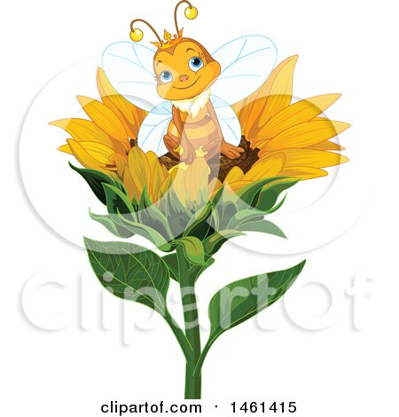 Clipart of a Cute Queen Bee Sitting on a Sunflower - Royalty Free Vector Illustration by Pushkin