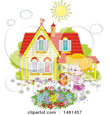 Clipart of a Happy White Girl Watering a Flower Garden on a Summer Day - Royalty Free Vector Illustration by Alex Bannykh
