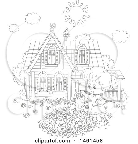 Clipart of a Black and White Happy Girl Watering a Flower Garden on a Summer Day - Royalty Free Vector Illustration by Alex Bannykh