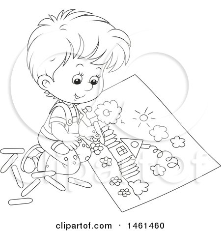Clipart Of A Black And White Boy Coloring Page House
