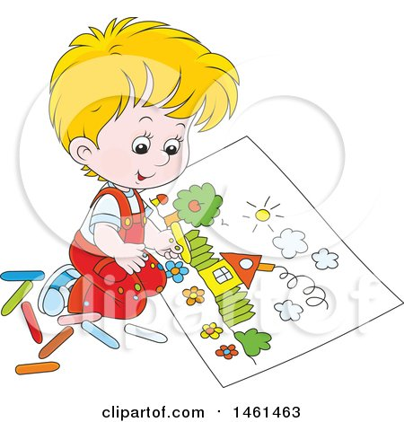 Clipart of a Cartoon Happy Blond Caucasian Boy Coloring a Page of a House - Royalty Free Vector Illustration by Alex Bannykh