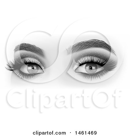 Clipart of Grayscale Womans Eyes with Glittery Shadow - Royalty Free Vector Illustration by dero