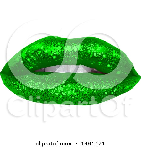 Clipart of a Womans Mouth with Green St Patricks Day Themed Sparkly Glitter Lipstick - Royalty Free Vector Illustration by dero