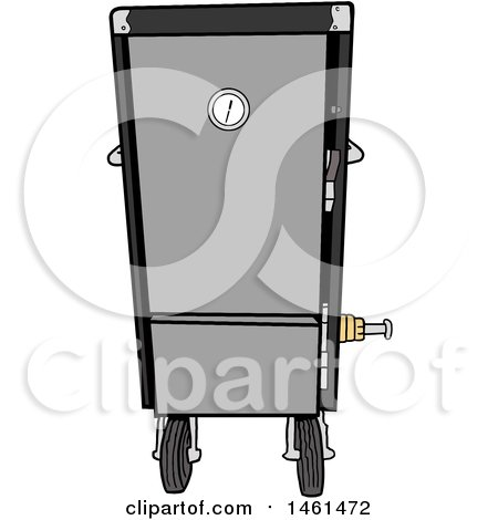 Clipart of a Cartoon Black Vertical Smoker - Royalty Free Vector Illustration by LaffToon