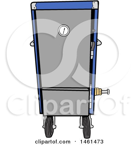 Clipart of a Cartoon Blue Vertical Smoker - Royalty Free Vector Illustration by LaffToon