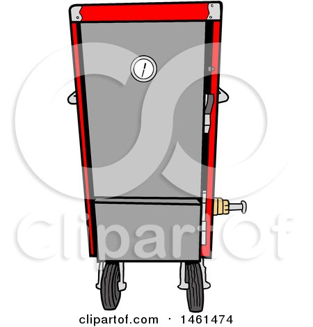 Clipart of a Cartoon Red Vertical Smoker - Royalty Free Vector Illustration by LaffToon
